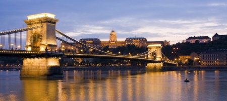 man made structure: Panoramic image of the Royal Palace, Chain Bridge and Danube River in Budapest, Hungary