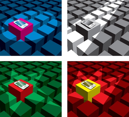 cubes with different form spotlight and one phone