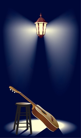 guitar in the street lantern