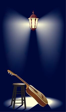 la guitarra en la linterna de la calle Ilustración de vector