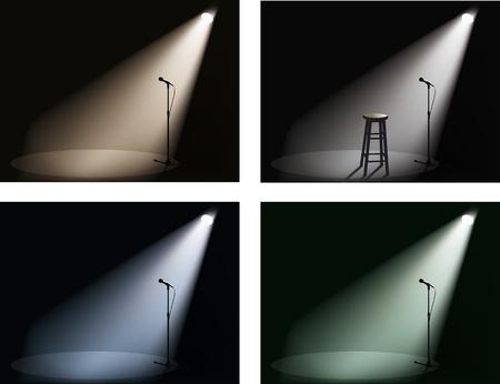 club nocturno con spotlight y micrófono