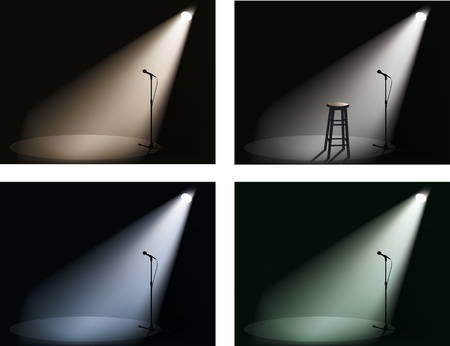 the stool: night club with spotlight and microphone  Illustration