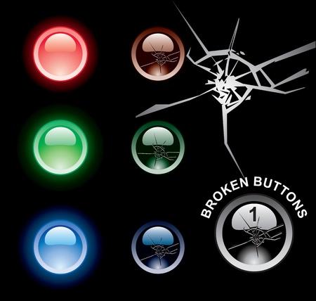 broken web buttons vector eps Illustration
