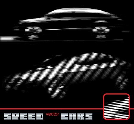speeding cars in lines vector eps Illustration