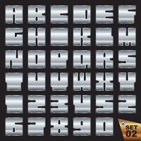 rivet: векторные серебро шрифта EPS