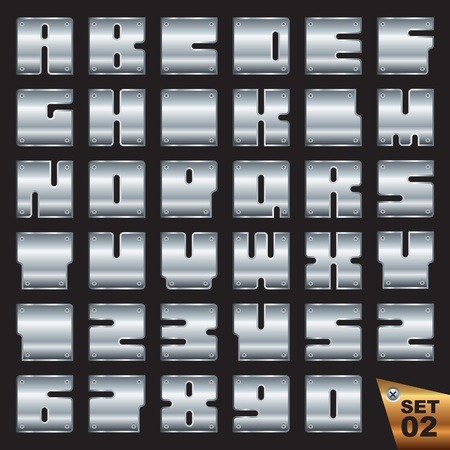 rivet: silver font vector eps Illustration