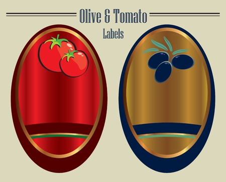 olive and tomato labels vector eps Stock Vector - 10119362