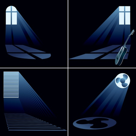 blinds: light beams inside window - set  vector eps