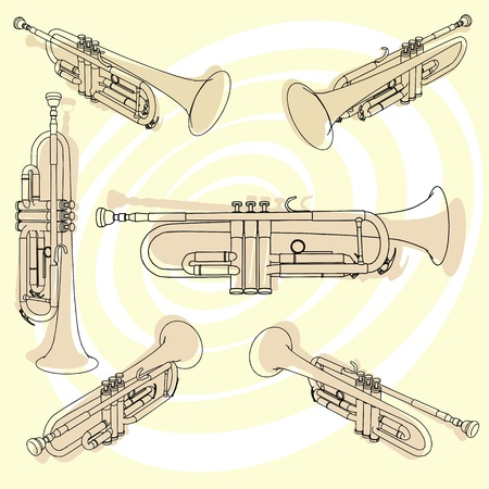 Trumpets set  vector eps Illustration