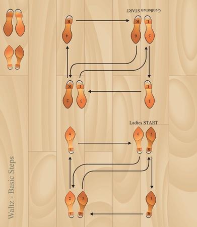 waltz basic steps  vector eps