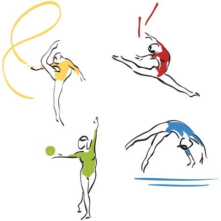 gimnasia: colecci�n de Gimnasia - mujeres Vectores