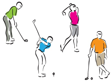 golf swings: golf men - vector eps8 set