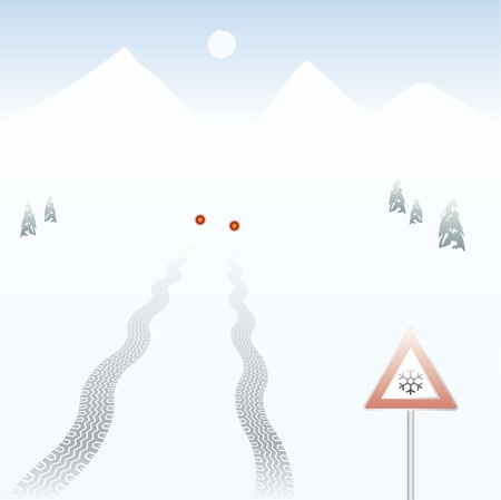 snow track: skidding tire track