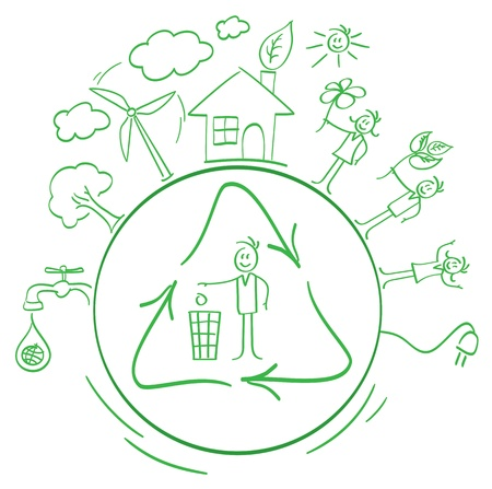 ni�os reciclando: de dibujos animados juego de empaque ecol�gico