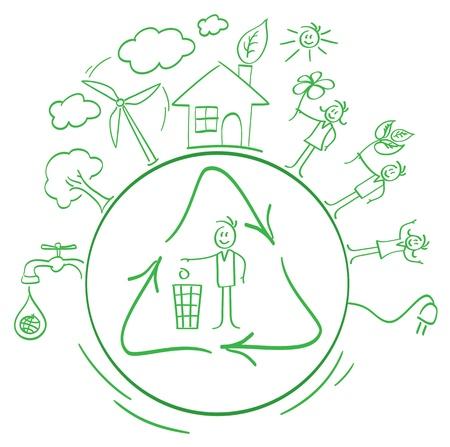 jeu de garnitures de bande dessinée écologique Vecteurs