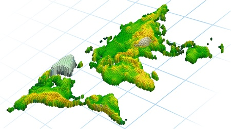 abstract World map created from cubes 3d
