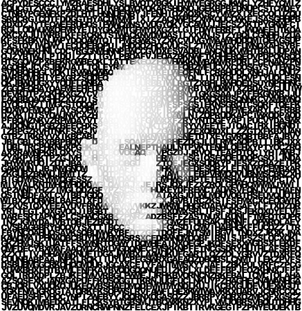 rosto: Cara Digital 3D criado a partir de letras