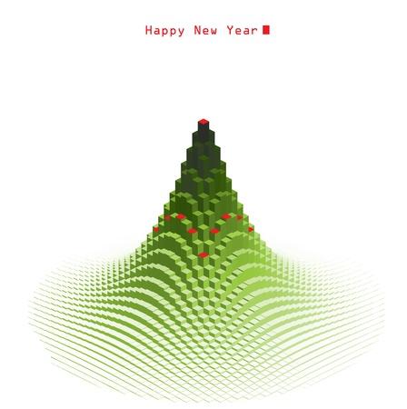 Merry Christmas green tree design new generation