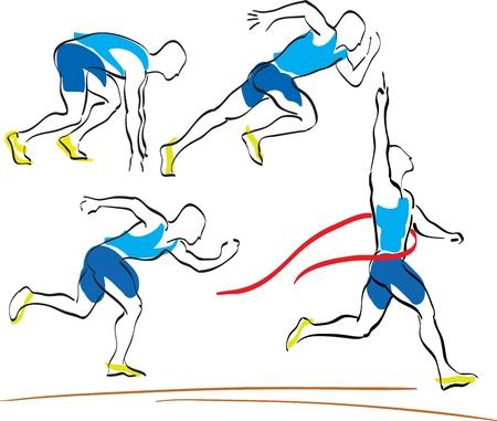 pista de atletismo: conjunto de ejecuci�n de hombre cruzar la l�nea de meta Vectores