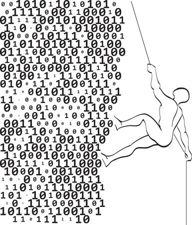 climber climbs a mountain of digits