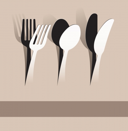 classic art: paper cut fork, spoon and knife