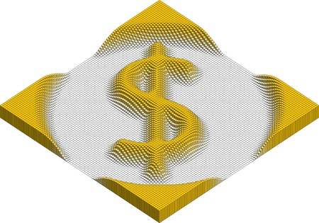 dollar currency symbol made of cubes