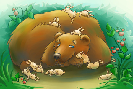 sleepiness: kind brown bear with the little rabbits in the forest