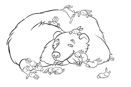 fondness: kind brown bear with the little rabbits in the forest