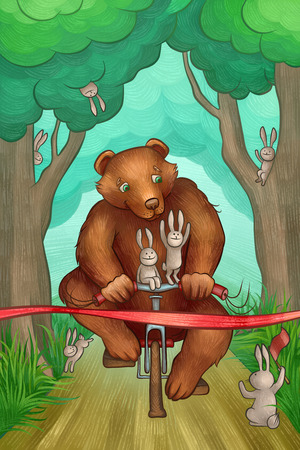 brown bear is racing on the bicycle in the forest photo