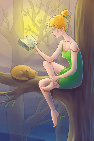 young beautiful women is sitting in the tree and reading the book. photo