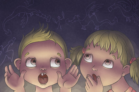 adventure story: boy tells girl sceary story about dragons