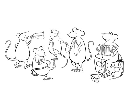 mice dancing in the kitchen and playing music photo
