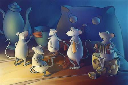 muizen dansen in de keuken. kat kijken Stockfoto