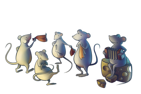 happines: mice dancing in the kitchen and playing music