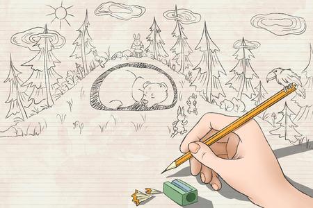lair: woman drawing rabbits run to save the bear Stock Photo