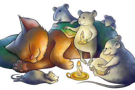 narrative: mice read a book to a kitten at the night