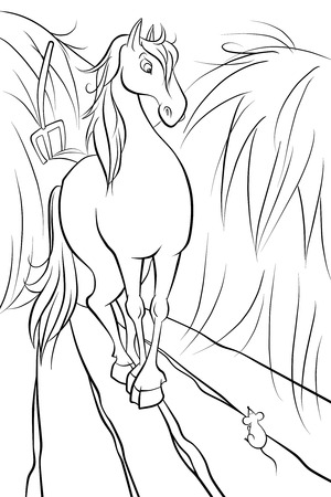 piebald: sceared horse and the tiny mouse in the stable
