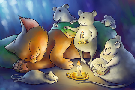 the mice read book to a kitten at the night photo