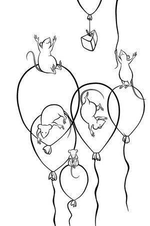 five mice flying on balloons and a piece of cheese photo