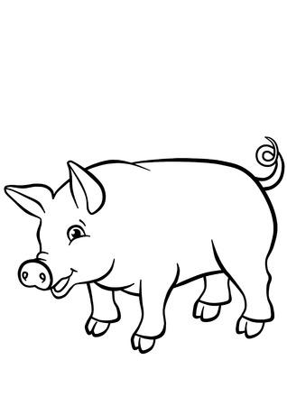 Weinig leuk varken glimlachen en kijken naar de camera Stockfoto