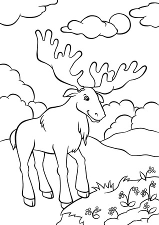 Cute elk standing in the forest and looking at berries photo