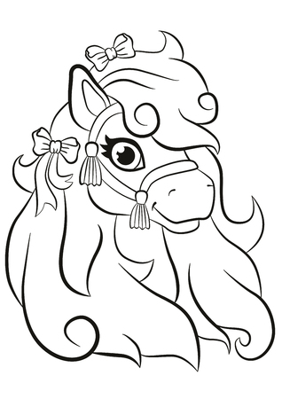mane: Coloring pages. Beautiful little cute pony smiling. She has bows in her mane. Illustration