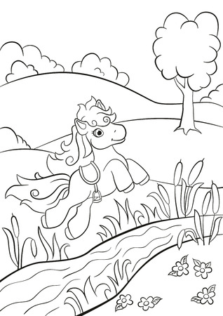 coloration: Coloring pages. Little cute pony jumping over the river on the field. She is beautiful and smiling.
