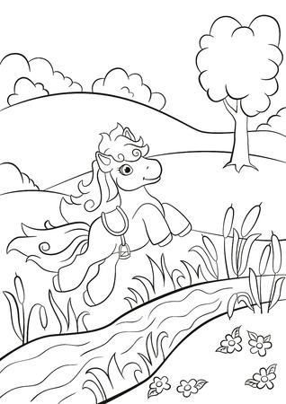 Páginas Para Colorear. El Pequeño Pony Lindo Pie En El Campo Y ...