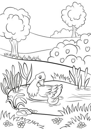 Kolorowanki. Na stawie pływa kaczka i trochę kaczątko. Wokół są drzewa, krzaki, kwiaty i trzciny. Lato.
