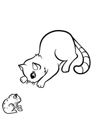 dibujos para colorear: P�ginas para colorear. Animales. Peque�o gato lindo mira a la rana. Vectores