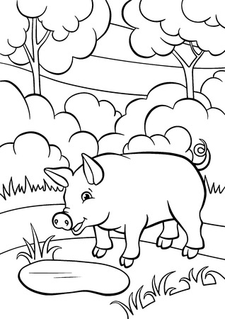 Coloring pages. Animals. Little cute pig stands and smiles.