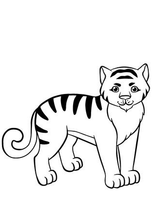 coloring pages: Coloring pages. Animals. Little cute tiger stands and smiles.