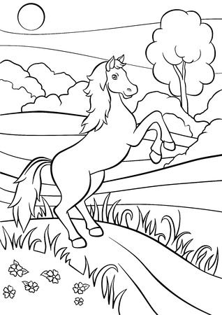 Coloring pages. Animals. Cute horse jumps and smiles. Illustration