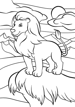 Coloring pages. Animals. Cute lion stands and smiles. Illustration